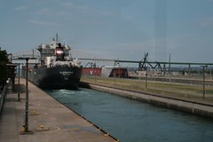One ship enters, the other leaves (jenny s. wren) Tags: vacation michigan saultstemarie