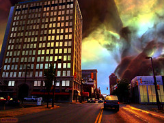 Weather Oddity (rcvernors) Tags: street light reflection strange weather photoshop geotagged downtown huntington digitalart surreal wv westvirginia disaster computerart oddity aw allrightsreserved hst photoshopart hubblespacetelescope huntingtonwv rcvernors altereduniverse coalexchangebuilding