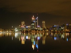 Perth skyline at night (Synapse-) Tags: skyline night reflections river lowlight australia noflash perth westernaustralia