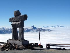 Inukshuk, Black Tusk, clouds (Ruth and Dave) Tags: cloud mountain logo whistler symbol peak olympics inukshuk garibaldi sturdy blacktusk inuksuk weatherphotography msh0308 msh030818