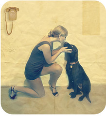 (cs.foto (simplybloomphotography)) Tags: dog texture yellow vintage kiss telephone chocolatelab retro 70s csfoto