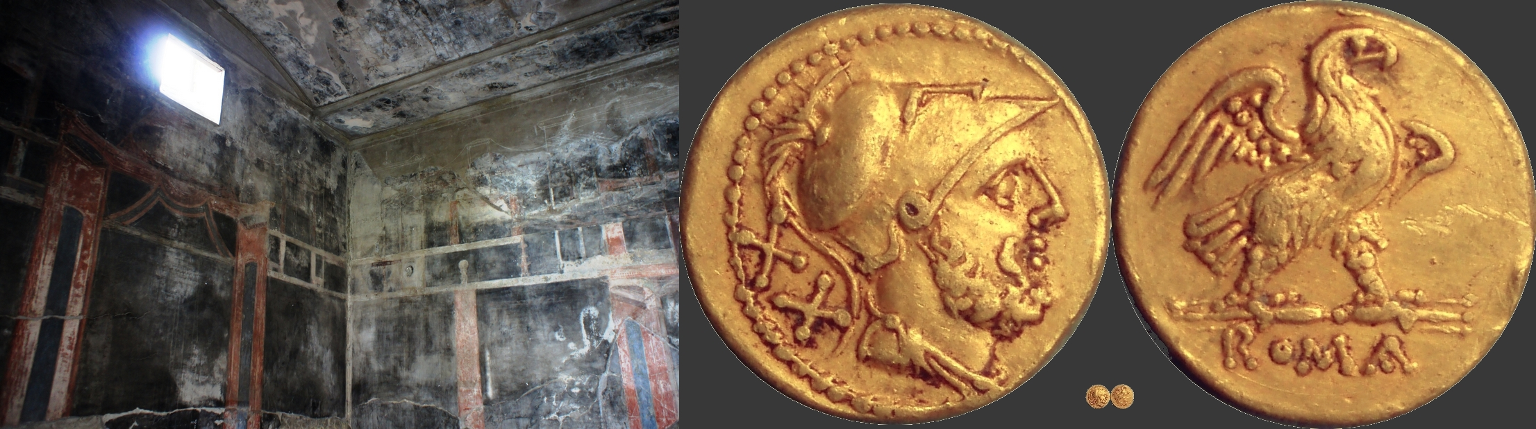 44-4 gold coin with Mars and Eagle of the 2nd Punic War, and display of wealth in a large Herculaneum dining room, the House of the Black Salon