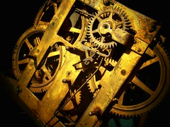Clockwork/Gears (skittty) Tags: sculpture macro art clock strange monster collage metal altered found hardware bright antique assemblage mixedmedia creative rusty photograph recycledart oxidation foundobjects supplies gears distressed clocks alteredart steampunk molehill watchparts clockparts monsterandmolehill