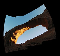 The Lad and The Arch (rahtenkhamen) Tags: panorama utah arch gimp archesnationalpark hugin canona10