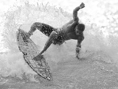 Banyans (konaboy) Tags: ocean bw sports hawaii blackwhite surf action surfer wave surfing cj bigisland kona kailuakona banyans kanuha img79012