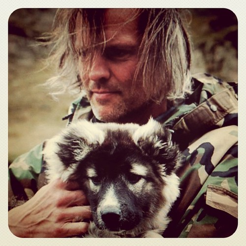 Bjørn Erik Sass with puppy