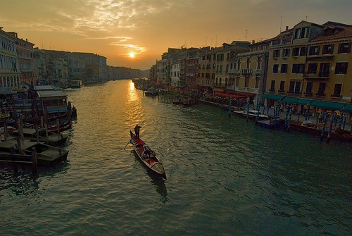 Lone Gondolier at Sunset, Grand Canal, Venice, 2006
