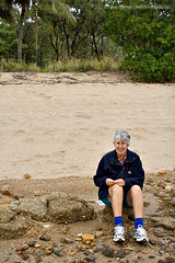 Mum on the beach at Clairview