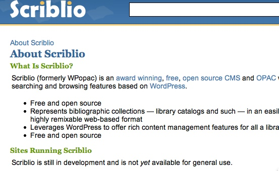 scriblio not open source