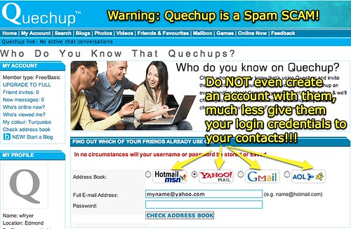Quechup is a spam scam!