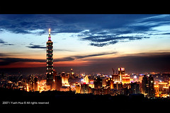 Taipei 101 Skyscraper - Updated (*Yueh-Hua 2013) Tags: camera sunset building tower architecture night skyscraper canon buildings eos fine taiwan explore 101  taipei taipei101 dslr   tamron      30d  101  a16     canoneos30d horizontalphotograph tamronspaf1750mmf28xrdiii  taipei101skyscraper taipei101internationalfinancialcenter 2007june tigerpeak