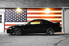 Black & White & Red & Blue (ChrisMRichards) Tags: ford cobra americanflag mustang v8 svt oldglory starsstripes imlaycity amazingmich specialvehicleteam