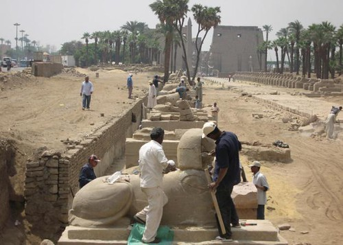 Restoration work being conducted at the Avenue of Sphinxes in the southern city of Luxor, Egypt. A 1600-year-old Coptic Church was recently discovered in the area. by Pan-African News Wire File Photos