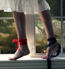 The Edge and I are Close Friends (Taylor Dawn Fortune) Tags: friends ballet white black texture feet window girl clouds standing stars ribbons close dress nails edge slip bows nightgown writingonskin