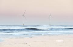 Life's a Peach (Reed Ingram Weir) Tags: longexposure sunset motion beach twins waves offshore peach northumberland environment turbine blyth windturbines 200mm nikond700 reedingramweir riwp