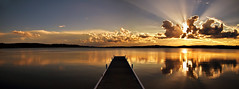 Warners Bay (Leighton Wallis) Tags: sunset reflection sunshine clouds newcastle dusk jetty australia nsw sunrays lakemacquarie warnersbay