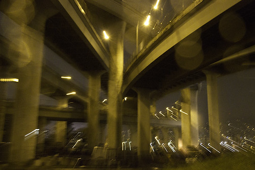 overpasses underpassing on a rainy night