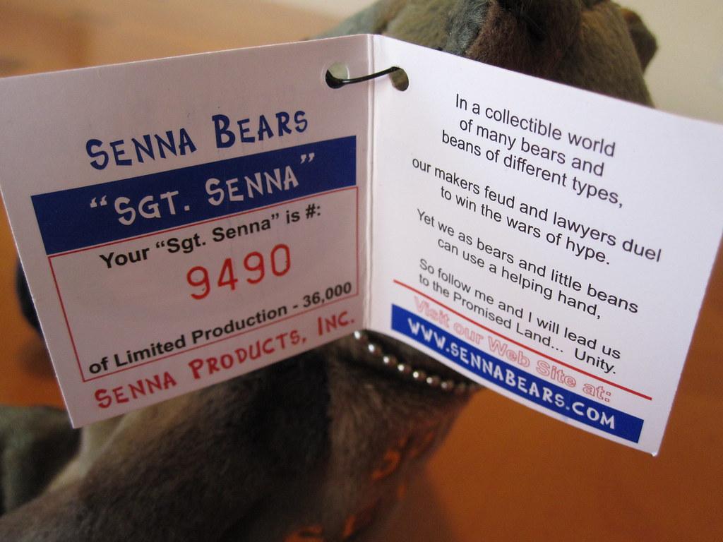 ... Sgt Senna Bear 9490 (jessicagreen0202) Tags bear animals computer  stuffed 2000 geek on feet  Ty Hello Kitty Halloween Devil Beanie Baby Tush  ... 623ecf4c9d71