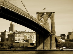 Brooklyn Bridge (shutterBRI) Tags: old nyc newyorkcity bridge usa newyork stone sepia brooklyn america canon photography photo manhattan thecity powershot brooklynbridge eastriver suspensionbridge 2007 a630 historiclandmark shutterbri challengeyouwinner brianutesch flickrchallengegroup flickrchallengewinner photofaceoffwinner pfogold brianuteschphotography
