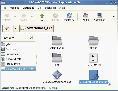 VirtualBox - Guest Additions - SUSE: contenuto del file ISO delle Guest Additions