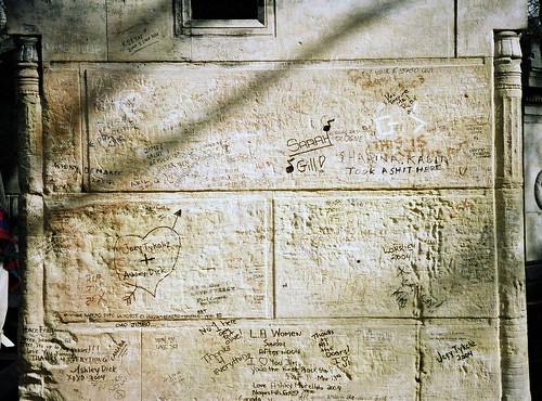 Jim Morrison's Grave Graffiti, Père Lachaise Cemetery, Paris, France.