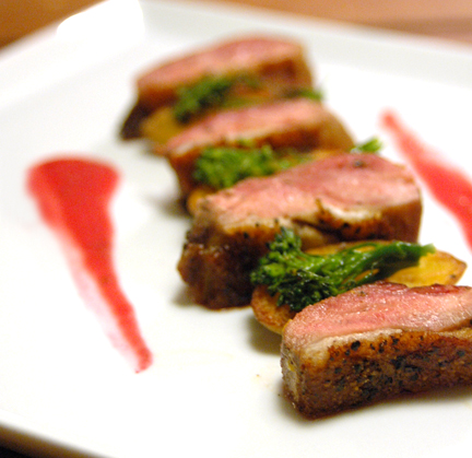 Seared Duck Breast with Raspberry Guwerztraminer Reduction