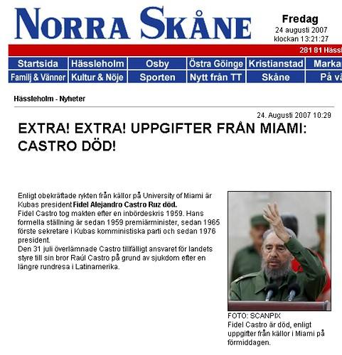 Norra Skåne: Castro död