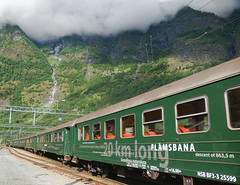 Flamsbana Railway in Norway (scott photos) Tags: mountain norway clouds train iso100 norge nikon railway f45 1870mmf3545g nikkor 1870mm flmsbana flm flam myrdal flamsbana 18mm norvge sognefjord flaam aurlandsfjord d80 0013sec flaamsbana byscottphotos