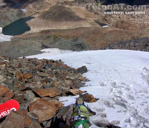 Looking down Greasshopper Glacier