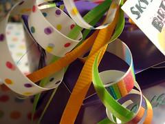 fun birthday party favors (starrdesign) Tags: birthday orange graphicdesign purple box limegreen tag tags sparkle polkadots gift present ribbon curl glitterglue hangtag chinesebox birthdayfavors