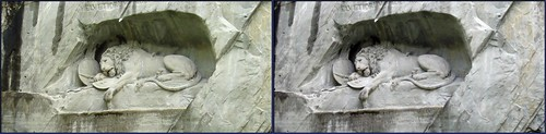 Mary's newest Switzerland--3D crosseye-the Lion monument of Luzern-2