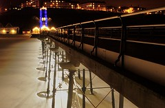 Railing in (~Glen B~) Tags: uk england beach lines night lights pier britain cleveland teesside saltburn converging bbok satelliteportfolio redbubble:id=2192701railingin
