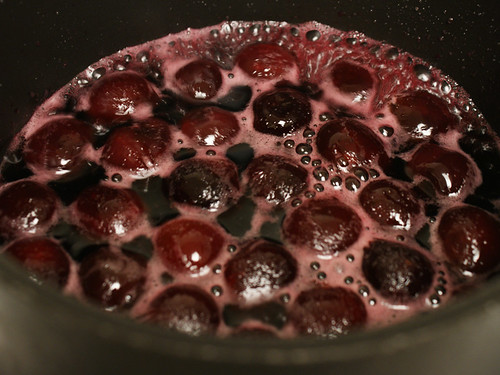 Dark cherries cooking (6141)