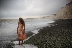358/365 Birling Gap (sosij) Tags: autumn 1920s england selfportrait beach canon stones pebbles cliffs barefoot 5d coastline slip sevensisters whitecliffs eastsussex birlinggap 2470mm vintagesilkslip justaroundthecornerfrombeachyhead