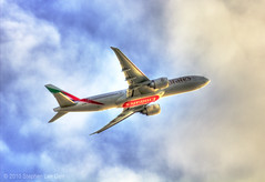 Emirates Airline 777 Takeoff (Stephen Lee Carr) Tags: california sky clouds plane canon airplane eos rebel losangeles nikon jet airline boeing lax takeoff 777 unitedarabemirates hdr airliner jetliner emiratesairlines photomatix eseries 550d t2i