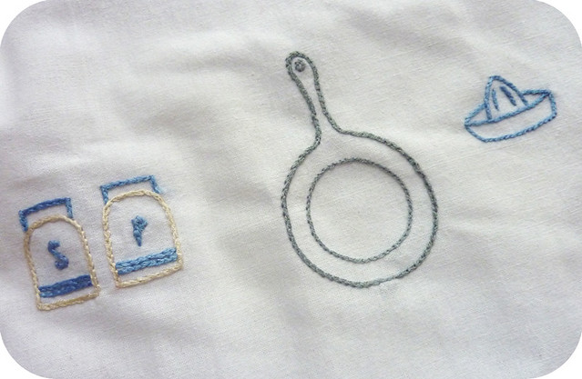 detail of tea towel embroidery