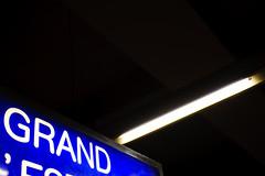 Grand (Olivier H) Tags: blue light station sign train gare lumière bleu fluorescent lumi panneau rer lumire