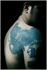 Eagle Tattoo (Ryan Macalandag) Tags: man male tattoo umbrella portraits flash portraiture canon350d gq aries dak strobist ryanmacalandag