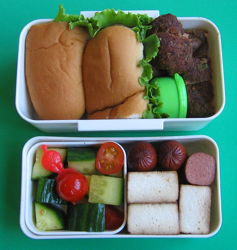 Smoked burger lunch for preschooler