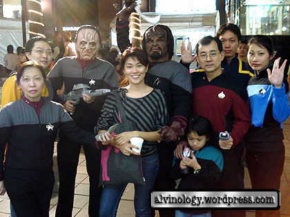 Rachel with a family of Star Treks
