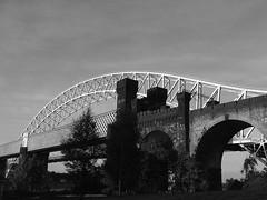 Two Bridges 2 (andy_sunley) Tags: bridge runcorn sliverjubileebridge runcornrailwaybridge