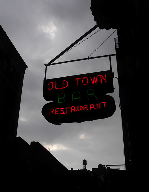 Old Town Bar Restaurant sign and canyon
