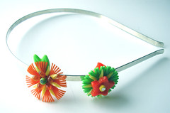 Orange and Green Vintage Flowers Headband