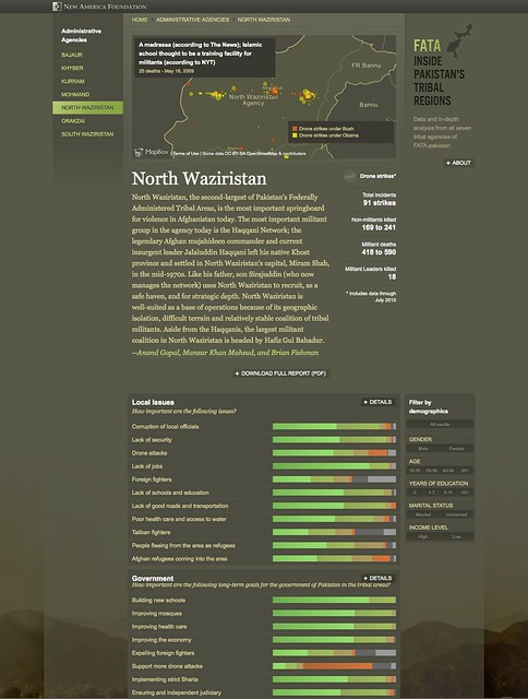 Screenshot showing mapping drone strikes in North Waziristan