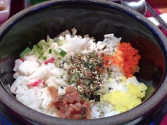 Rice topped with furikake, masago, and kimchi