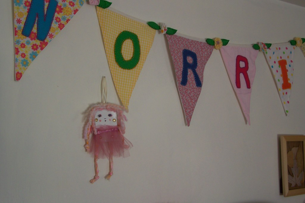Banner with paper doll (Banner by mom;Paper doll by me)