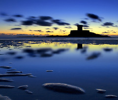 Cloud shoal reflection (Corica) Tags: uk longexposure greatbritain blue sea sky reflection tower beach water yellow clouds movement sand wideangle jersey f22 channelislands lowperspective corbiere sigma1020mm stouen laroccotower stouensbay stouens 30secexposure corica stbrelades canon400d superaplus aplusphoto stouensbeach