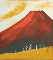 Vintage Japanese Shikishi Art - Red Mt Fuji Nihonga (softypapa) Tags: art japan vintage fuji mt fujisan nihonga shikishi