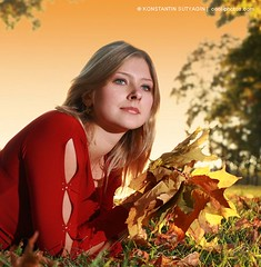 Autumn (Konstantin Sutyagin) Tags: park autumn sunset red portrait people color fall love nature beautiful grass leaves yellow season square fun outdoors happy person one golden photo leaf colorful pretty day alone dream adorable vivid sunny dreaming blond single thinking attractive rest recreation bouquet resting lying caucasian top20femmes