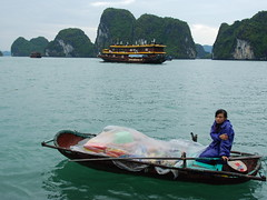 Ha Long bay  (Melinda ^..^) Tags: sea green water girl boat vietnamese hills vietnam mel gal melinda sales halongbay   chanmelmel